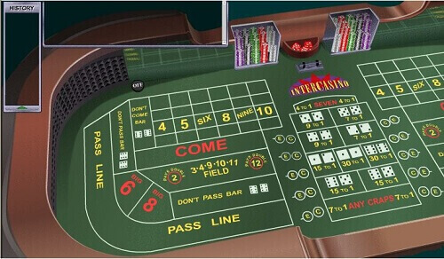 Image of online craps gameplay