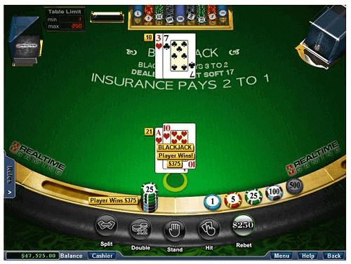 blackjack online table