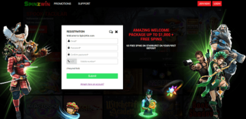 SpinzWin Casino Signup