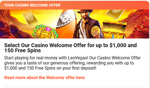 Leo Vegas Bonus - Sign Up